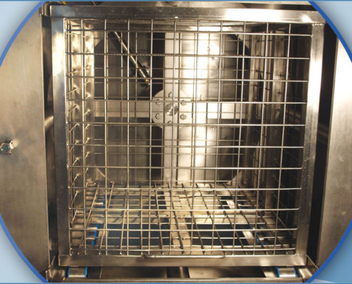 Spraying washing machines with horizontal rotating basket